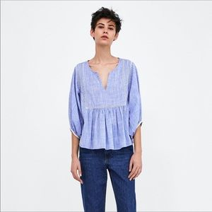 Zara Embroidered Top - sz M